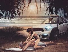 Life is good (AstraGenesis) Tags: sl animations couples mini surf sunset massage beach