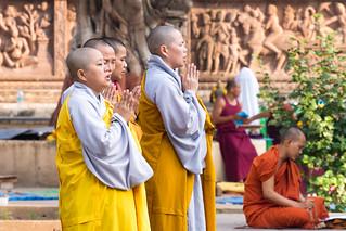 Praying in Mahabodhi Temple...India