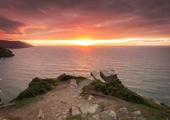 Sunset POV (shammondphoto) Tags: sunset northdevon devon august goldenhour goldenlight valleyoftherocks cliff sea coastal sky cloud colour vivid pink red orange rocks outdoor canon 6d hdr