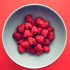 red raspberries (auntneecey) Tags: redraspberries muted colors bluebowl365 2018 edition3652018day 48365 17feb18