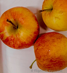 Day 52. (lizzieisdizzy) Tags: fruit apples apple table tabletop round stalk stalks red rosy goodforyou sadow