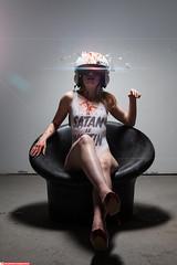 Cassie (VK3Photographix) Tags: female feminine bodysuit satan helmet pilot chair studio detroit sinister blood design graphic pieces photoshoot model moody