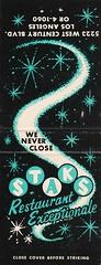 "STAKS Restaurant Los Angeles Matchbook - ""We Never Close"" (hmdavid) Tags: vintage matchbook matchcover midcentury art illustration 1950s advertising staks losangeles restaurant"