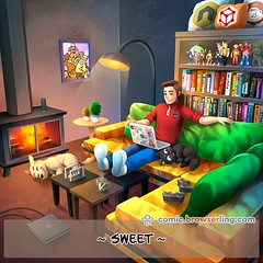 Home Sweet Home - Webcomic about web developers, programmers and browsers (browserling) Tags: cartoon comic webcomic joke browser browserling crossbrowsertesting webdeveloper webdesigner webprogrammer home unix linux homedirectory vi vim tilde mug coffee texteditor homesweethome sweethome programmer laptop cat dog fireplace lamp picture playstation playstation4 ps4 controllers hexagon transformers godzilla books transformer actionfigures amazonalexa newtonscradle toys webdev developer designer geek nerd internet