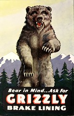 """""""Bear in MInd . . . Ask for Grizzly Brake Lining.""""  Advertising postcard (ca. 1950s)  from the Sanel Auto Parts, Inc., Rochester, New Hampshire (lhboudreau) Tags: postcard postcards vintagepostcard ad advertising advertisement vintageadvertisement vintageadvertising vintagead illustration illustrations artwork art advertisingpostcard bearinmind askforgrizzlybrakelining brake brakes brakelining grizzly bear animal claws teeth mountains trees sanelautoparts rochester vicious 1950 1950s tree newhampshire"""