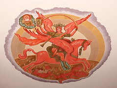 Sts. Cyril and Methodius Red Angel on Red Horse (Jay Costello) Tags: stscyrilandmethodiusukrainiancatholicchurch stscyrilandmethodius ukraniancatholic ukrainian catholic church catholicchurch god worship religion stcatharines ontario on stcatharineson canada ca angel horse red devil