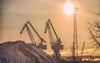 Dirty efficiency(Explored) (BigWhitePelican) Tags: helsinki finland hanasaari silhouettes cranes sunny canoneos70d adobelightroom6 niktools 2018 january
