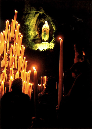 Lourdes Grotto at Night