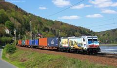 Metrans 386.020 - Königstein (Federico Santagati) Tags: metrans 386 020 königstein saechs schweiz national park schiff dampfer elbe elbtal bahn container