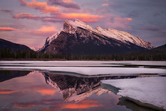 Rundle Reflection (Luc Stadnik) Tags: canada banff vermilion rundle reflection sunset ice melting spring glow goldenhour alberta clouds
