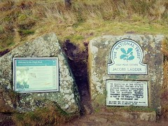 The National Trust, Jacobs Ladder sign. (mikeupton433) Tags: thepeakdistrict jacobsladder thewoolpacks grindsbrookclough edale theramblersinn january2018 backinthehills countryside winter hillmistandfog