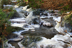 The Thaw (jonaskey) Tags: stream brook water flowing ice frozen icicle woodland