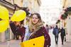Encore bon anniv' (clemgateau) Tags: nikon birthday 100ans 100years girl yellow yellowcolor city street gift baloons red redjacket smile eye