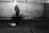 infesting shadows, I am undeterred. (Super G) Tags: sony012 sanjose california selfportrait nightshot blackandwhite bw standing concrete reflection puddle down hat jeans bench shadow