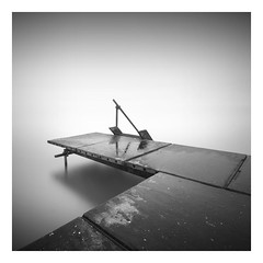 Waiting for the season (Marco Maljaars) Tags: seascape sea sky water ijsselmeer markermeer marcomaljaars minimalism pier jetty stair mood monochrome blackandwhite bw