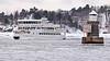 The archipelago ship Dalarö departing from Stockholm (Franz Airiman) Tags: vinter winter snö snow is ice cold kallt minusgrader stockholm sweden scandinavia båt boat ship fartyg fyr lighthouse blockhusudden