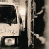 Correct Parking, Rom (raf6x6) Tags: analog analogfriday blackwhite lithprint lith silvergelantine moersch se5 minolta autocord 80mm 120 6x6 agfa grain film mediumformat rom parking car bus close narrow rome thight oldcar