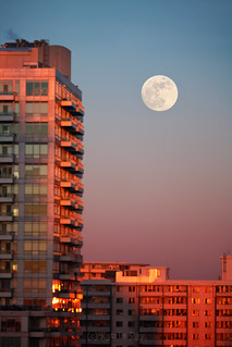 January Blue Moonrise at Sunset