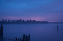 Foggy Sunset Over the Fraser River (Kristian Francke) Tags: fraser river bc canada british columbia pentax outdoors landscape rain fog nature sky cloud cloudy vancouver sunset violet purple blue