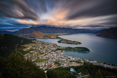 Skyline Queenstown (Wolfics) Tags: nz south island new zealand queenstown skyline high atop mountain long exposure slow shutter speed a7r sony alpha wide angle uwa clouds movement sunset gondola roadtrip travel city cityscape cold river lake wakatipu 1635mm sel1635z blue