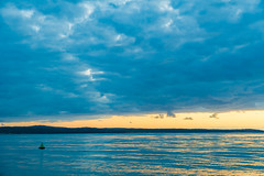 Dawn Seascape with Island (Merrillie) Tags: daybreak landscape nature southcoast mountains water newsouthwales sea nsw sun batemansbay beach ocean australia waterscape scenery coastal island sunrise seascape dawn coast clouds snapperisland