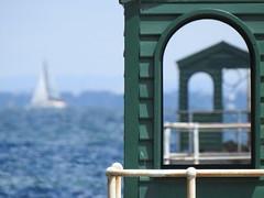 Sea a window in a window (Gazman_AU) Tags: windowwednesdays hww windows arch sea brightonpier bay boat sail bokeh