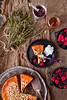 Honey Walnut Cake (saraghedina) Tags: cake walnut honey baking foodphotography dessert foodstyling fruit berries cream flower homemade homecooking stilllife stilllifephotography jam rustic canon canon5dmarkii raspberry blackberry highangleview