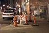 Fourth Avenue (Curtis Gregory Perry) Tags: portland oregon night long exposure sweet sidewalk fourth 4th avenue toyota camry car automobile cone construction fence pylon orange pdx northwest nikon d810