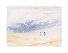 La promenade sur la plage (Yvan LEMEUR) Tags: aquarelle acuarela watercolour peinture promenade mer rivage rivages plage