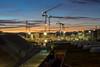 Cranes over Zürich: straight (1/2) (jaeschol) Tags: eisenbahn europa hardbruecke hardbrücke kantonzürich kontinent kreis5 morgen morning schweiz stadtzürich suisse switzerland transport zeit chemindefer railroad railway zürich ch