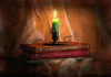 Candle Light Inspiration ... (MargoLuc) Tags: candle soft lighting books flame reading table stilllife silver red green brown cover shadows texture joessistah indoor