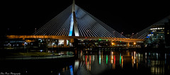The sublime Leonard Zakim Bridge pano on a cold winter's night. (kuntheaprum) Tags: citynightscape boston cityscape nikon d750 samyang 85mm f14 northpointpark charlesriver