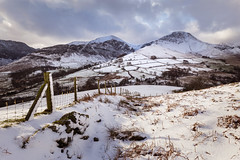 Newlands (Ade G) Tags: landscape seasons weather clouds fence light mountains snow winter