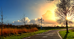 The Day Before (Alfred Grupstra) Tags: nature sky sunset cross tree outdoors landscape dusk autumn silhouette grass sunlight sun street environment cloudsky christianity sunrisedawn night scenics
