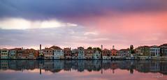 Venetian reflections (Soregral) Tags: rose venise leverdesoleil bride ciel reflets maison mer bleu blue paysage ocean lagune pink pont façade architecture couleurs relfections sea sunrise
