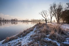 Quiet morning (xkolba) Tags: tree sunrise outdoor landscape podlasie canoneos5dmkii river reflection mirror reflections riverbank winter water poland snow wood forest sky