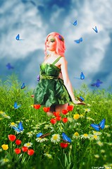Life itself (gusdiaz) Tags: photoshop photomanipulation composite composition woman model fairy colorful colorido butterfly butterflies mariposa mariposas hermoso mujer modelo tulips grassy