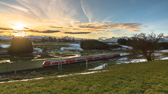 New Dawn (redfurwolf) Tags: dawn sunrise train alps sun clouds field tree rails mountains landscape nature awesome epic snow river meander grass sunshine outdoor outdoors redfurwolf sonyalpha sony a99ii sal2470f28za