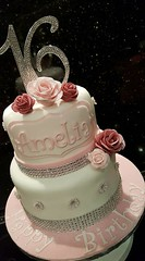 Sweet 16 cake (Victorious_Sponge) Tags: 16th 18th 21st girls pink 2 tier round cake birthday flowers bling blingy diamante
