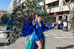 Peacock (The Whisperer of the Shadows) Tags: chica girl mujer woman costume disfraz peacock pavo pavoreal carnival carnaval urban urbana street calle ciudadreal piñata blue azul plumas feathers dance baile geotagged