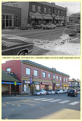 Then & Now: Oak Bay Village 1973 & 2018 (photo No.1) (Brit 70013 fan) Tags: victoria britishcolumbia canada oakbay oakbayavenue 1973 2018 shopeasy retail shops morrisminor ford smart honda civic vwgolf plymouthvaliant countrysquire bankofmontreal