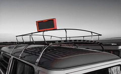 Balanced speaker (davellani) Tags: volkswagen waac earlybay pegwellbay ramsgate chrome balanced speaker bose roofrack camper blackandwhite