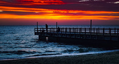 Lets go Fishing (Ross Major) Tags: fishing sunset pier melbourne olympus water beach sand clouds sky mentone landscape victoria