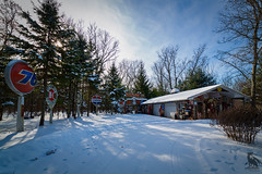 Station History(Explore 2/15/18) (CJ Schmit) Tags: wwwcjschmitcom 5dmarkiii canon canon5dmarkiii cjschmit cjschmitphotography rokinon14mmf28 photographermilwaukee milwaukeephotographer photographerwisconsin racine racinephotographer wideangle 14mm gasstation signs history antiques collectors planefield wisconsin winter snow cold strees sun clouds sky gaspumps gassigns garage woods luminar2018 outdoors