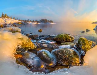 Icy rocks of Ladoga.