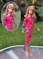 A BORROWED IDEA (ModBarbieLover) Tags: francie mod headband hair barbie 1967 twist turn tnt fashion garden dress stockings doll mattel
