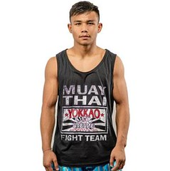 Yokkao Fight Team Black Tank Top (A1 Fight Gear) Tags: yokkaomuaythaitshirts yokkao boxing gloves shorts ankle guards carbonfit muay thai pro tshirts