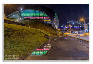 The Newcastle/Gateshead quayside at night
