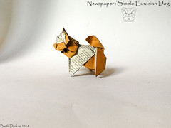 Newspaper Simple Eurasian Dog - Barth Dunkan. (Magic Fingaz) Tags: anjing barthdunkan chien chó dog gremlins hond hund köpek origami perro pies пас пес собака หมา 개 犬 狗