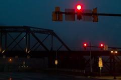 Bridge & traffic lights - IMG_1830 (T. Brian Hager) Tags: canoneos7d canon color digital eastonpa easton bridge fog foggy trafficlights signs railroadbridge morning